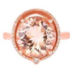 5.3 Carat Morganite and Diamond Ring in 18 Karat Rose Gold