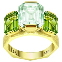 5.3 Carat Natural Green Beryl and Peridot 14 Karat Yellow Gold Ring