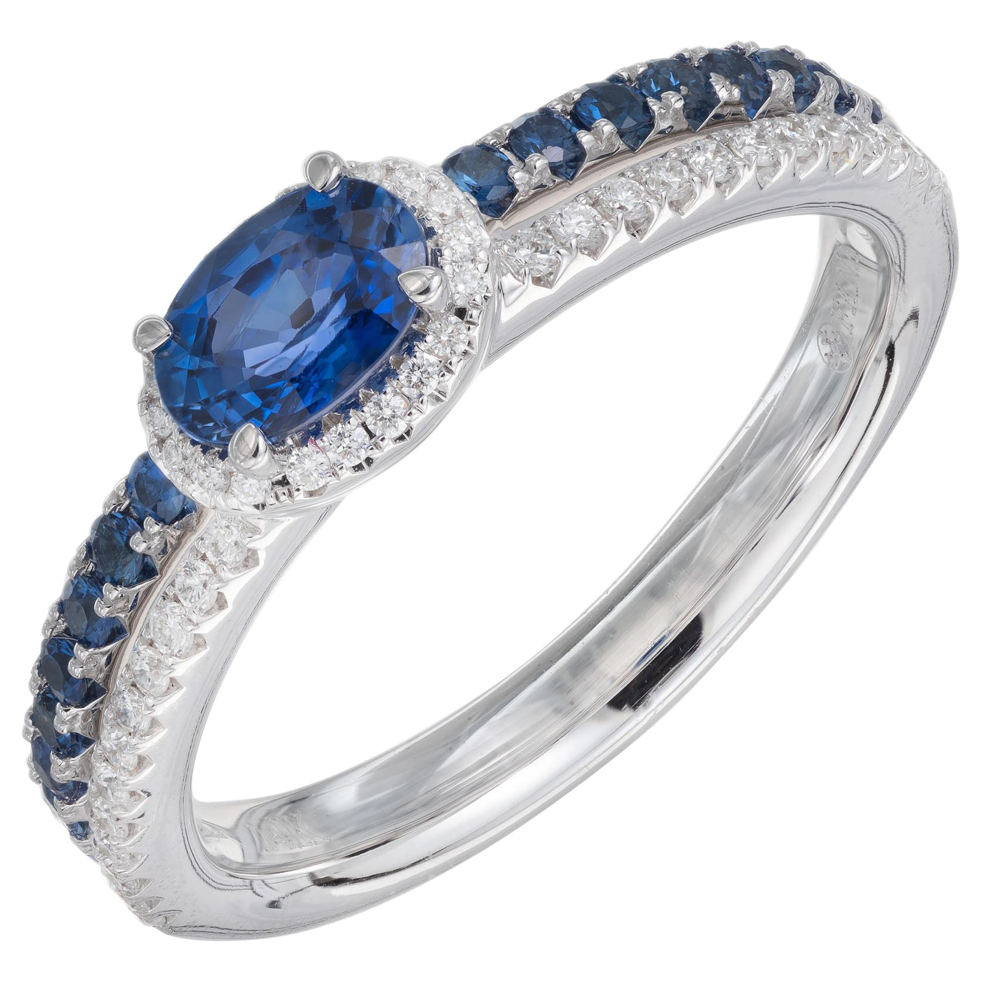 .53 Carat Oval Sapphire Diamond Engagement Ring