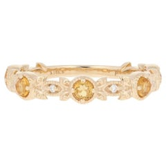 .53 Carat Round Cut Citrine & Diamond Ring, 14 Karat Gold Milgrain Wedding Band