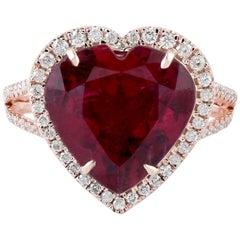 5.3 Carat Rubellite Diamond 18 Karat Gold Heart Ring