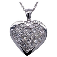5.30 Carat Diamond 14 Karat Gold Hearts Pendant Necklace