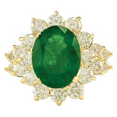 5.30 Carat Emerald 18 Karat Yellow Gold Diamond Ring