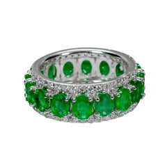 5.30 Carat Emerald and Diamond Ring Band in Victorian Style