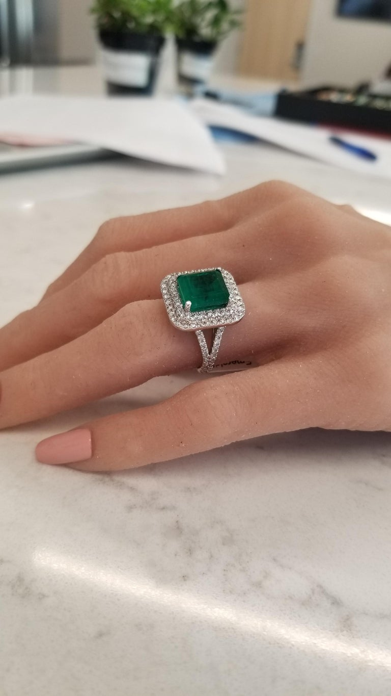 5.30 Carat Emerald Cut Emerald and Diamond Cocktail Ring in 18 Karat White Gold In New Condition For Sale In Chicago, IL