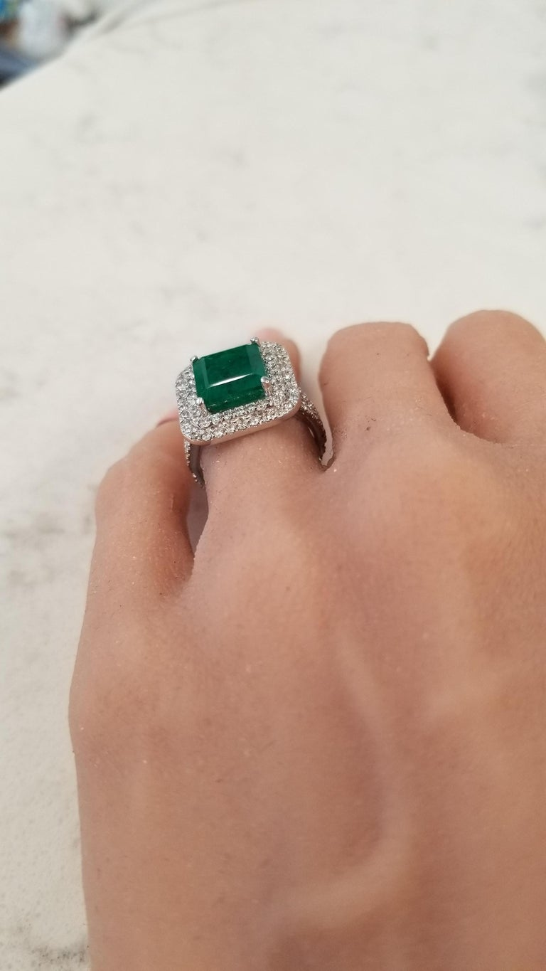 5.30 Carat Emerald Cut Emerald and Diamond Cocktail Ring in 18 Karat White Gold For Sale 3