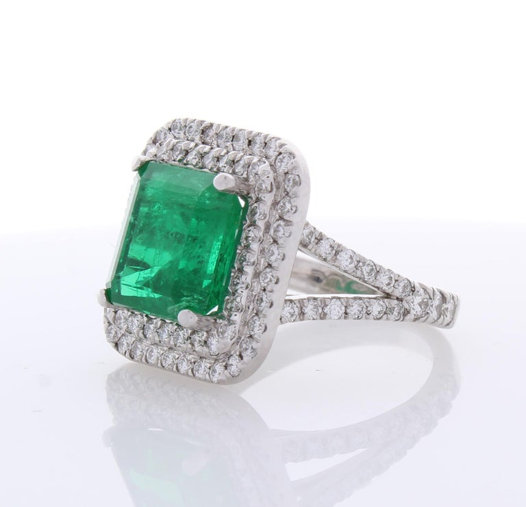 Contemporary 5.30 Carat Emerald Cut Emerald and Diamond Cocktail Ring in 18 Karat White Gold For Sale