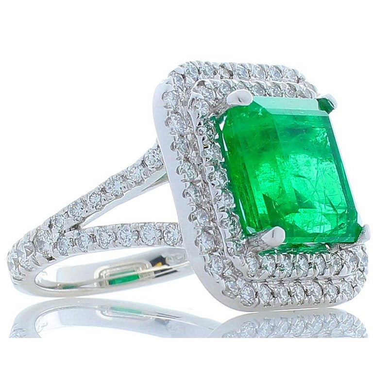Women's 5.30 Carat Emerald Cut Emerald and Diamond Cocktail Ring in 18 Karat White Gold For Sale