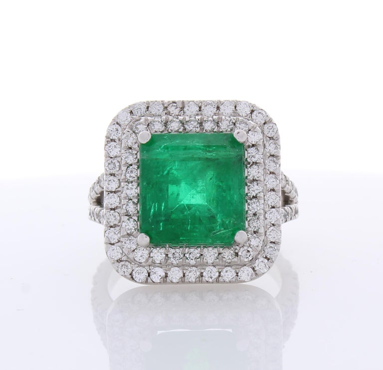 5.30 Carat Emerald Cut Emerald and Diamond Cocktail Ring in 18 Karat White Gold For Sale 2