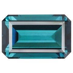 Indicolite Tourmaline Ring Gem 5.30 Carat Emerald Cut