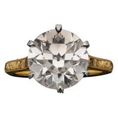 5.30 Carat J VS1 Old European Cut Diamond Solitaire Ring by Hancocks