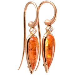 5.30 Carat Mandarin Garnet and Diamond Earrings in 18 Karat Rose Gold