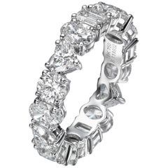 5.30 Carat Multi Shape Diamond Eternity 18 Karat White Gold Band Ring