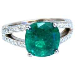 5.30 Carat Natural Cushion Emerald Diamonds Ring Platinum Split Shank Fine Green