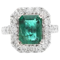 5.30 Carat Natural Emerald and Diamond 14 Karat Solid White Gold Ring