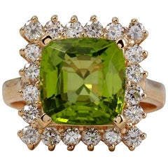 5.30 Carat Natural Very Nice Looking Peridot and Diamond 14K Solid Gold Ring
