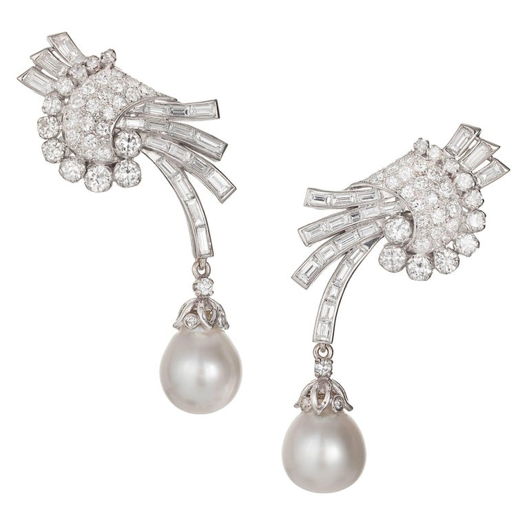 5.30 Carat Round Baguette Diamond Cultured Pearl Gold Dangle Earrings