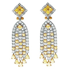 5.30 Carat Total Weight Two-Tone Diamond Dangle Earrings in 18 Karat Gold