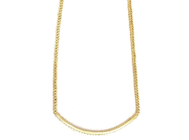 5.30 Carat TW Diamond Tennis Necklace 18 Karat Gold For Sale 3