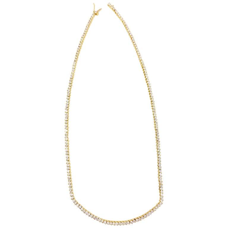 5.30 Carat TW Diamond Tennis Necklace 18 Karat Gold For Sale