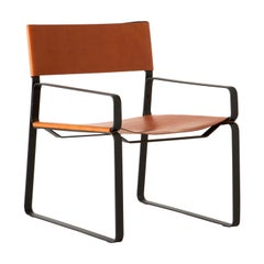 5:30 Lounge Chair, Natural leather, Steel Frame, Tanned