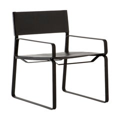 5:30 Lounge Chair, Natural Tanned Leather, Steel Frame, Black