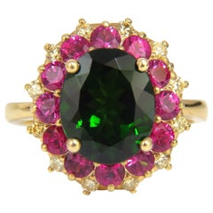 5.30ct Natural Deep Green Diopside Fancy Yellow diamonds Ruby Ring Cocktail Halo