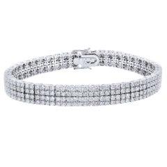 5.30 Carat Four-Row Diamond Pave Ladies Bracelet 18 Karat White Gold
