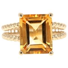 5.31 Carat Emerald Cut Citrine Quartz Yellow Gold Cocktail Ring