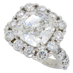 5.31 Carat GIA Certified Diamond Halo Ring