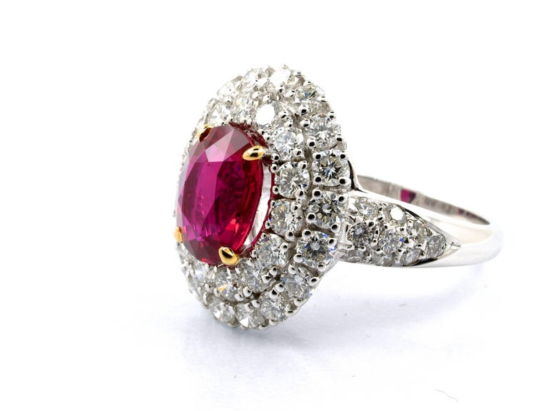 Oval Cut 5.31 Carat GRS Certified Unheated Red Ruby and Diamond Ring For Sale