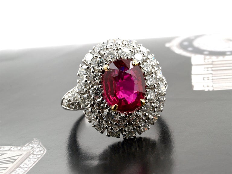 Women's 5.31 Carat GRS Certified Unheated Red Ruby and Diamond Ring For Sale