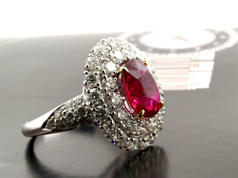 5.31 Carat GRS Certified Unheated Red Ruby and Diamond Ring For Sale 1