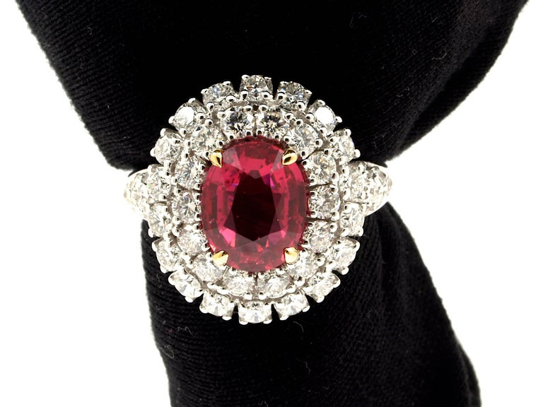 5.31 Carat GRS Certified Unheated Red Ruby and Diamond Ring For Sale 3