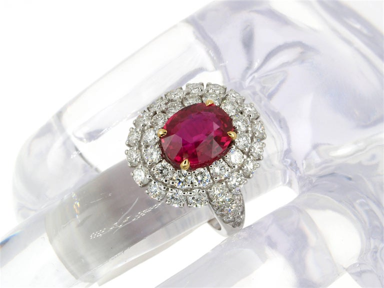 5.31 Carat GRS Certified Unheated Red Ruby and Diamond Ring For Sale 4