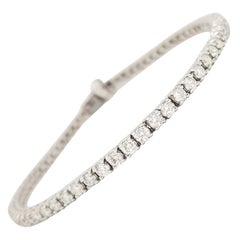 5.31 Carat Round Brilliant Cut Diamond Tennis Bracelet 14 Karat White Gold