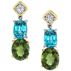 5.31 ct. t.w. Green Tourmaline, Blue Zircon & Diamond 18k Gold Dangle Earrings
