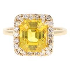 5.31 Carat Yellow Sapphire Diamond 14 Karat Yellow Gold Ring
