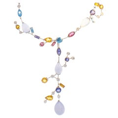 53.12 Carat Total Gemstone Necklace with Removable Pendant in 18 Karat Gold