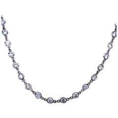 5.32 Carat Bezel Set Round Diamond by the Inch 18 Karat Necklace