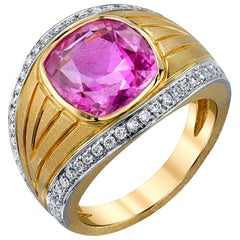 5.32 Carat Cushion Cut Pink Sapphire & Diamond 18k Yellow & White Gold Dome Ring
