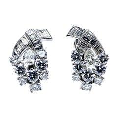 5.32 Carat Diamond and Platinum Clip Earrings