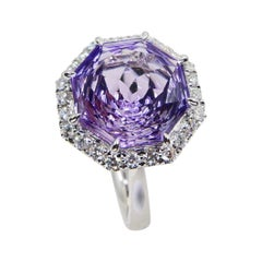 5.32 Carat Flower Cut Amethyst and Diamond Cocktail Ring, Statement Ring