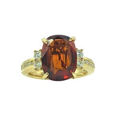 5.32 Carat Hessonite Garnet Ring with Diamonds 14 Karat Gold