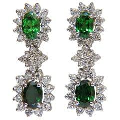 5.32 Carat Natural Vivid Green Tsavorite Diamond Earrings 14 Karat Halo Dangle