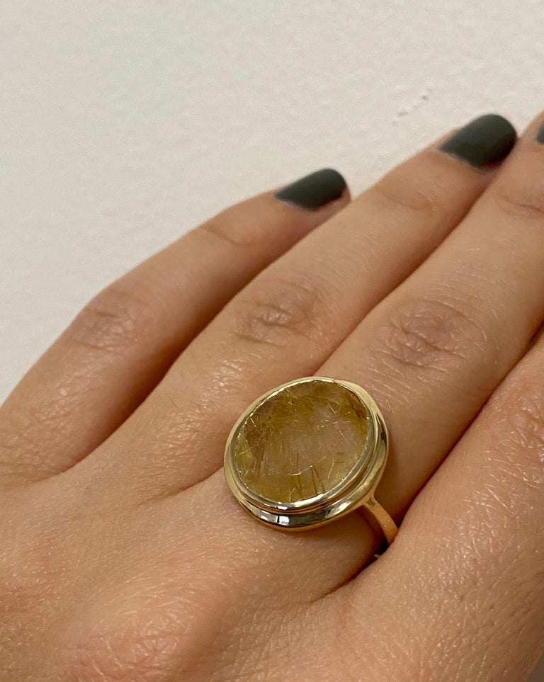 Contemporary 5.32 Carat Oval Rutilated Quartz Ring For Sale