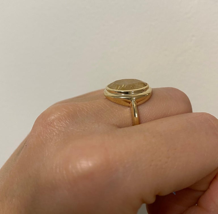 5.32 Carat Oval Rutilated Quartz Ring In New Condition For Sale In GREAT NECK, NY