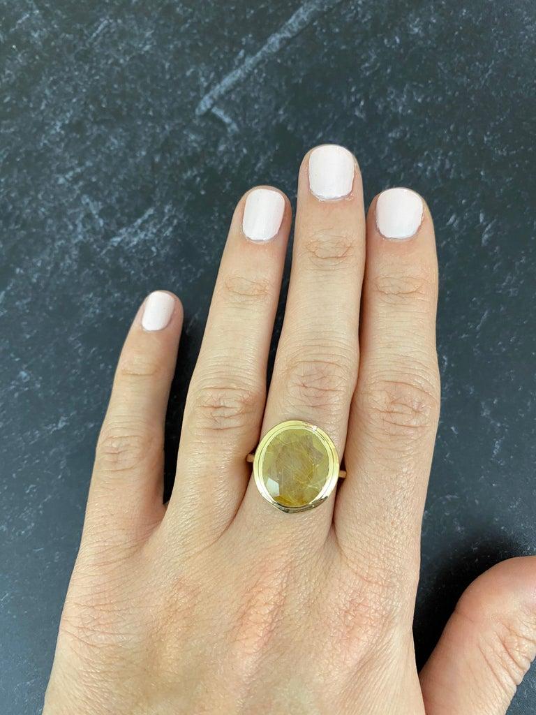 Women's 5.32 Carat Oval Rutilated Quartz Ring For Sale