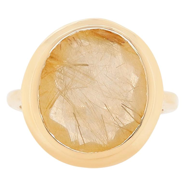5.32 Carat Oval Rutilated Quartz Ring For Sale