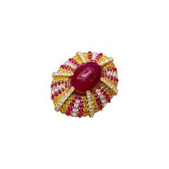 5.32 Carat Ruby with Fancy Vivid Yellow Diamond Ring